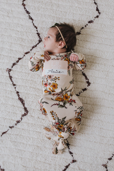 Knotted Gown | Honeysuckle Floral Rib - LITTLEMISSDESSA