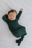 Little Nursling® Snuggle Knotted Baby Gown | Hunter Green Jersey