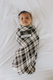 Little Nursling™ Knit Jersey Swaddle Baby Blanket | Onyx Plaid