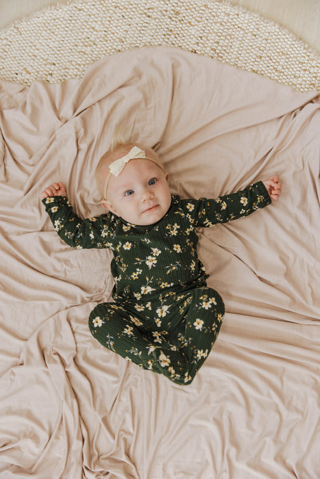 Snuggle Set | Hunter Green Cosmo Rib - LITTLEMISSDESSA