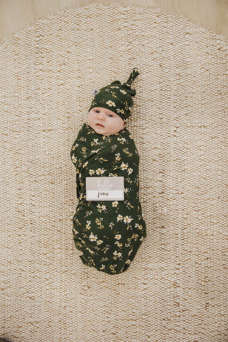Knit Jersey Swaddle Baby Blanket | Hunter Green Cosmo Rib - LITTLEMISSDESSA