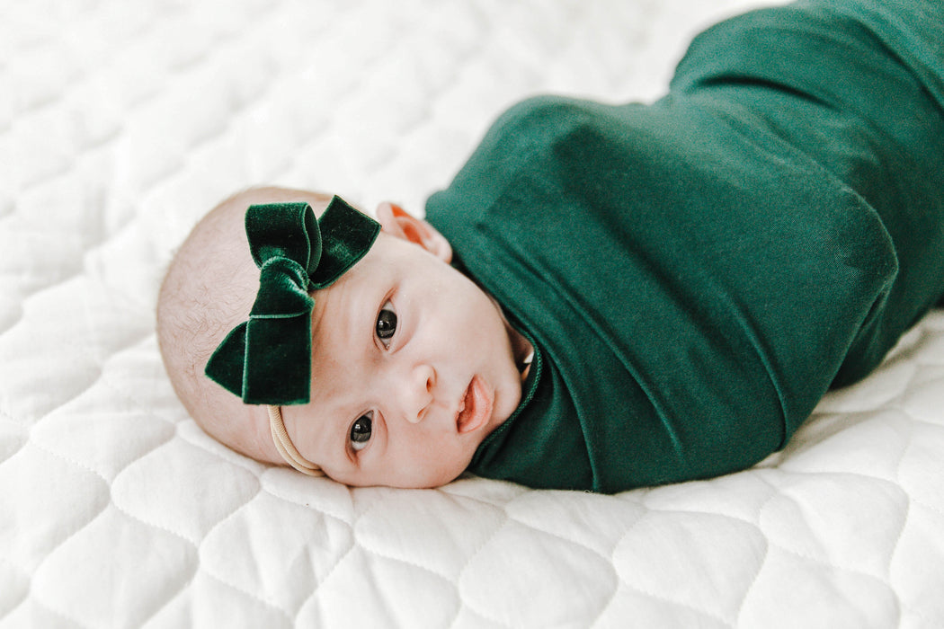 Emerald Green Velvet Bow - LITTLEMISSDESSA