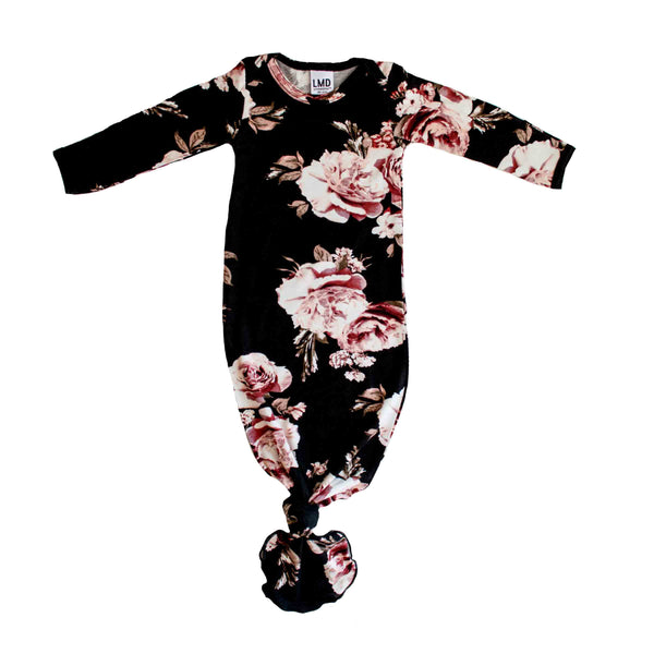 Little Nursling Snuggle Knotted Baby Gown Black Dahlia