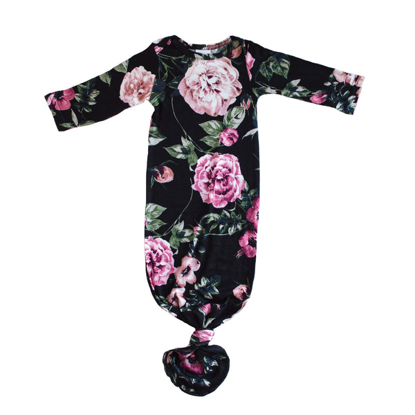 Little Nursling™ Snuggle Knotted Baby Gown | Midnight Moonflower
