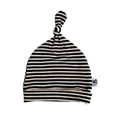 Newborn Baby Knotted Hat | Oatmeal & Black Micro Stripe - LITTLEMISSDESSA