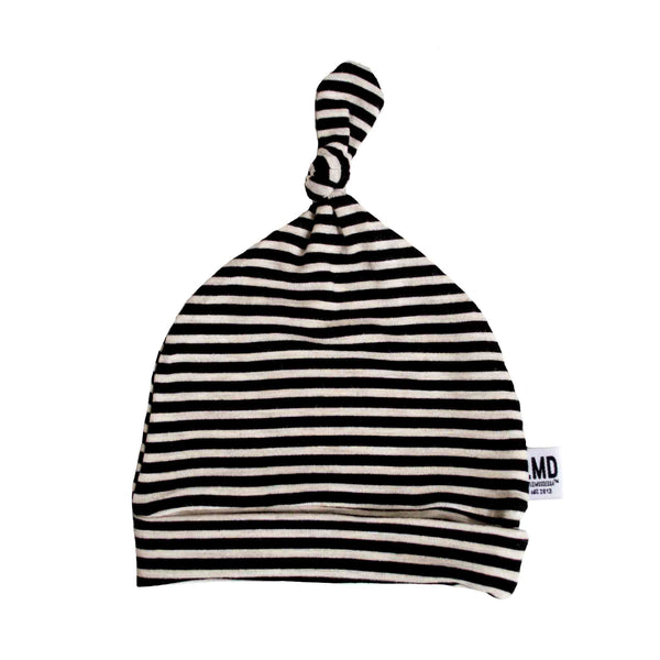 Newborn Baby Knotted Hat | Oatmeal & Black Micro Stripe