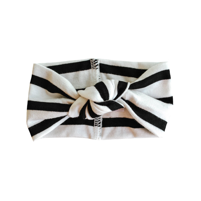 Top Knot Headband | Ivory & Black Stripe - LITTLEMISSDESSA