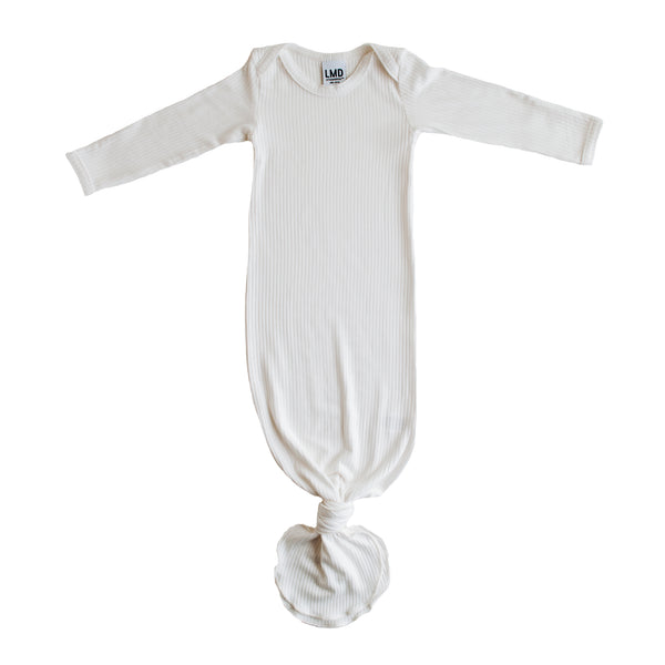 Little Nursling® Snuggle Knotted Baby Gown | Blanc White Rib