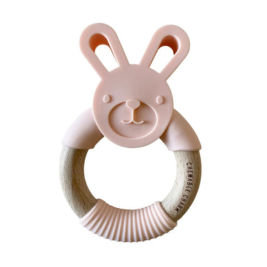 Bunny Silicone + Wood Teether - Pale Blush - LITTLEMISSDESSA
