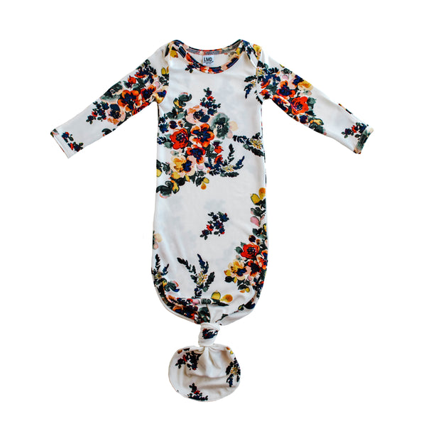 Little Nursling™ Snuggle Knotted Baby Gown | Botanical Bloom