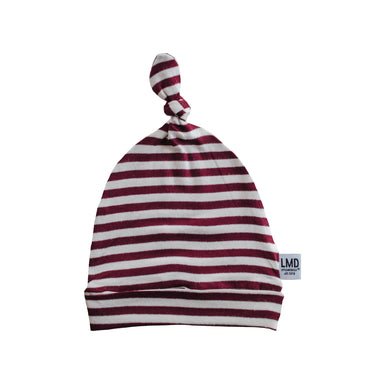 Newborn Baby Knotted Hat | Burgundy & Ivory Stripe