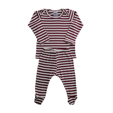 Snuggle Set | Burgundy & Ivory Stripe - LITTLEMISSDESSA