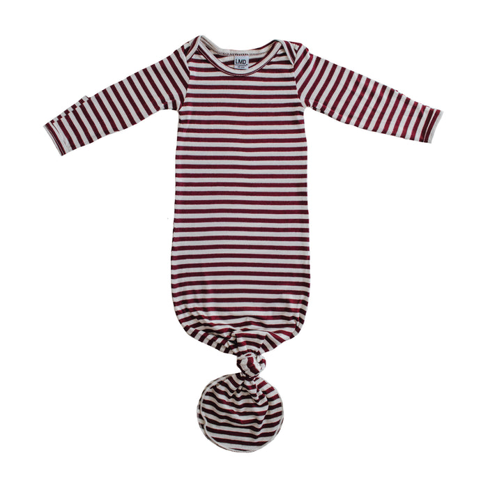 Knotted Gown | Burgundy & Ivory Stripe