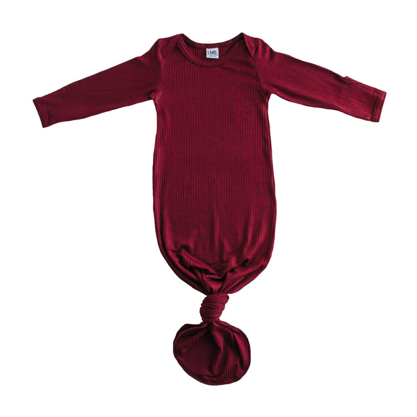 Little Nursling® Snuggle Knotted Baby Gown | Burgundy Rib