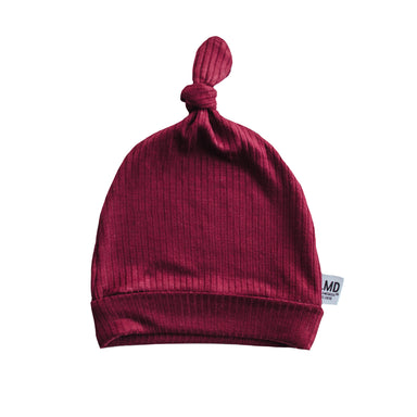 Newborn Baby Knotted Hat | Burgundy Rib