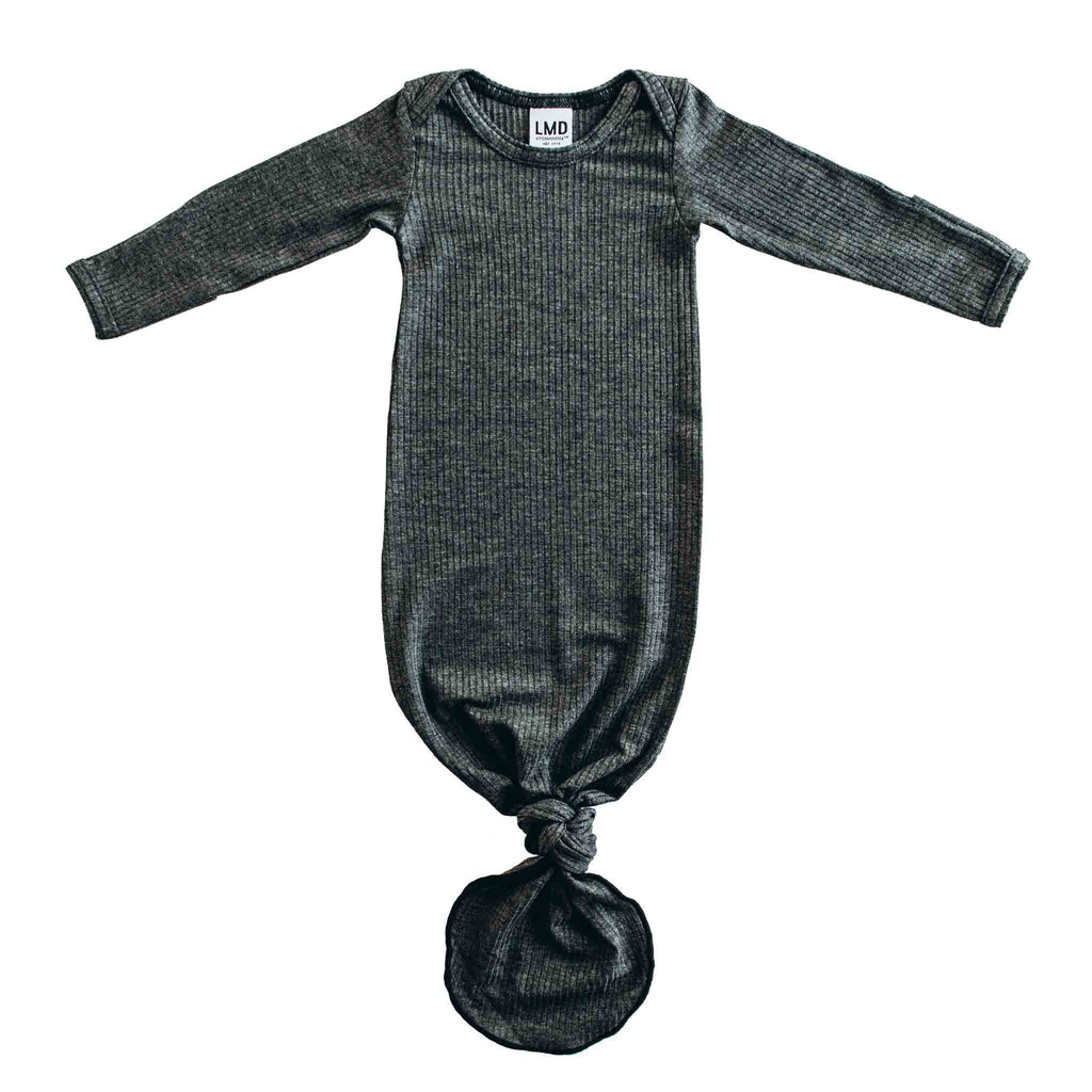 Little Nursling® Snuggle Knotted Baby Gown | Charcoal Grey Rib