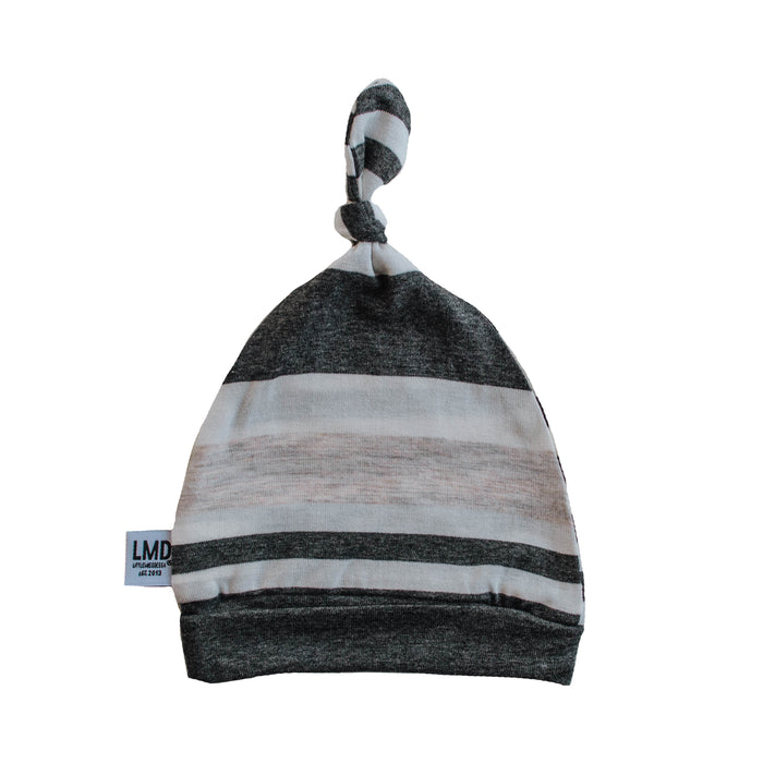 Newborn Baby Knotted Hat | Charcoal Grey, Ivory & Oatmeal Stripe