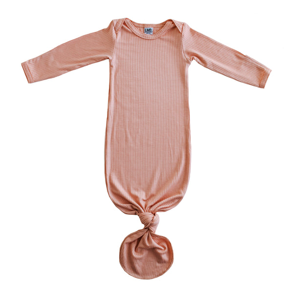 Little Nursling® Snuggle Knotted Baby Gown | Coral Rib