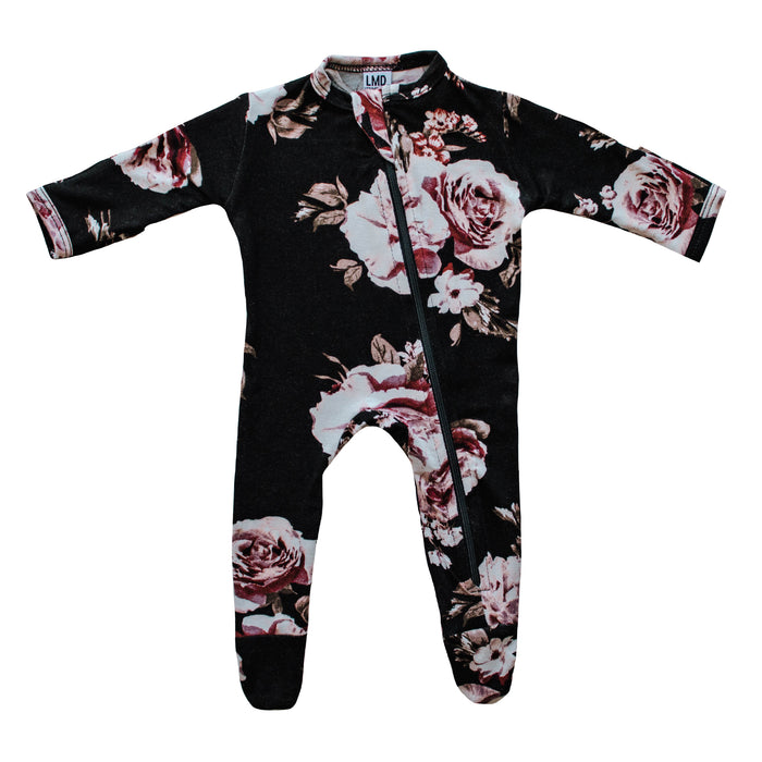 Cozy Zipper Footie Sleeper | Black Dahlia - LITTLEMISSDESSA