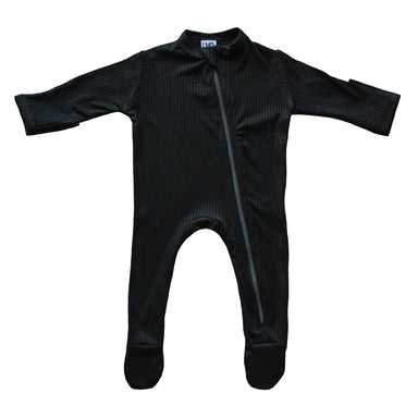 Cozy Zipper Footie Sleeper | Black Rib - LITTLEMISSDESSA