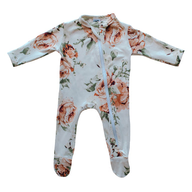 Cozy Zipper Footie Sleeper | Peach Peony - LITTLEMISSDESSA