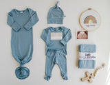 Little Nursling® Snuggle Knotted Baby Gown | Steel Blue Jersey