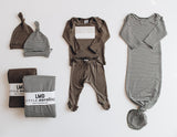 Little Nursling™ Snuggle Knotted Baby Gown | Olive Green & Ivory Micro Stripe