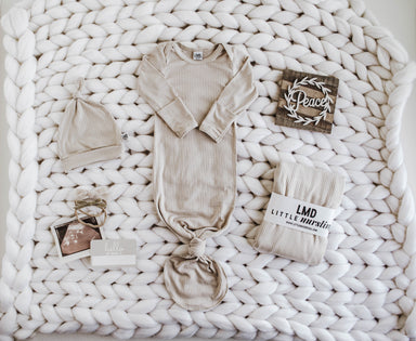 Little Nursling™ Knit Jersey Swaddle Baby Blanket | Latte Rib - LITTLEMISSDESSA