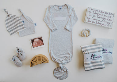 Little Nursling™ Knit Jersey Swaddle Baby Blanket | Ivory & Grey Stripe - LITTLEMISSDESSA