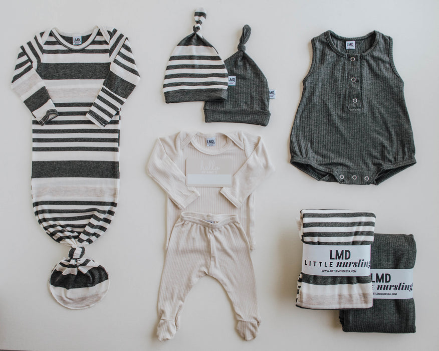 Knotted Gown | Charcoal, Ivory & Oatmeal Stripe - LITTLEMISSDESSA