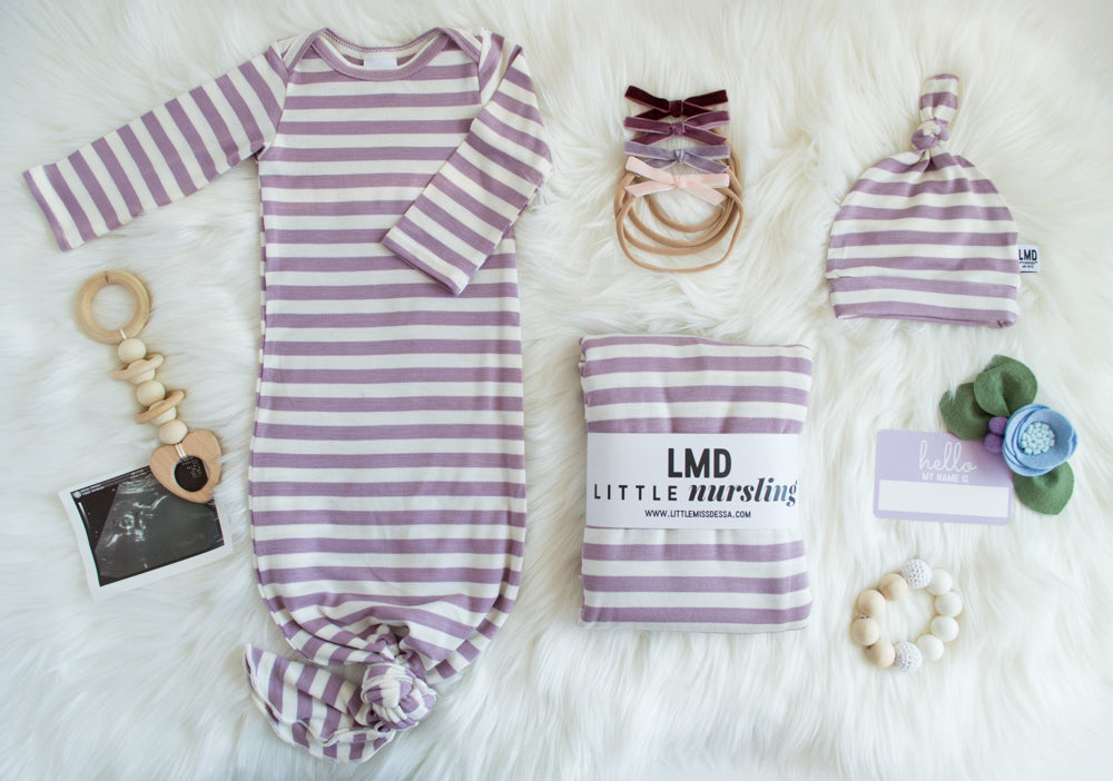 Little Nursling™ Snuggle Knotted Baby Gown | Lavender & Ivory Stripe