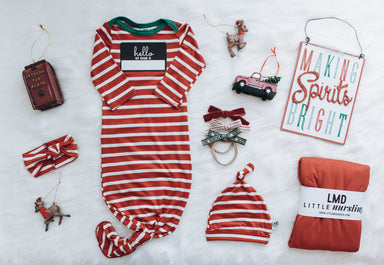 Knotted Gown | Holiday Stripe - LITTLEMISSDESSA