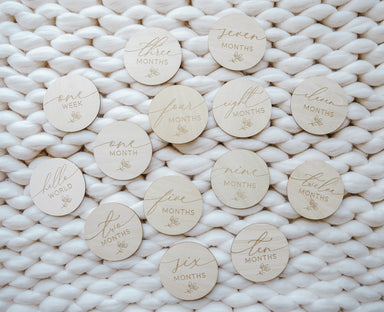 Hello World Dainty Floral Monthly Milestone Disc Set - LITTLEMISSDESSA