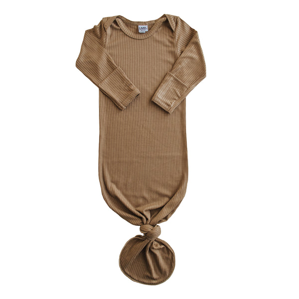 Little Nursling® Snuggle Knotted Baby Gown | Dark Camel Rib