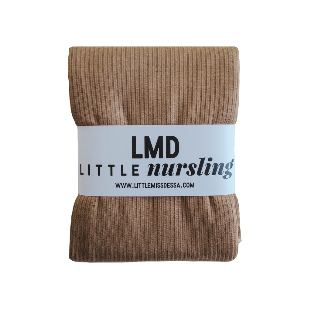 Little Nursling™ Knit Jersey Swaddle Baby Blanket | Dark Camel Rib