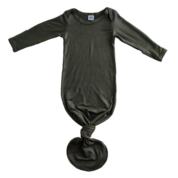 Little Nursling® Snuggle Knotted Baby Gown | Dark Moss
