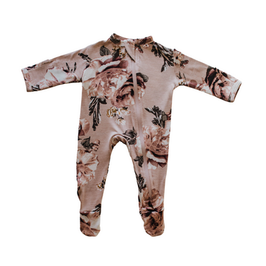 Cozy Zipper Footie Sleeper | English Rose - LITTLEMISSDESSA