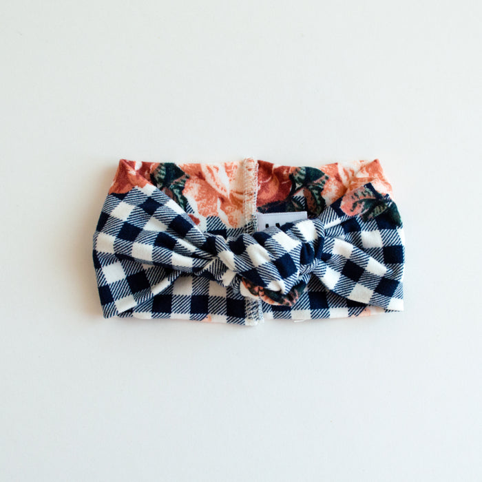 Top Knot Headband | Navy Floral Checkered - LITTLEMISSDESSA