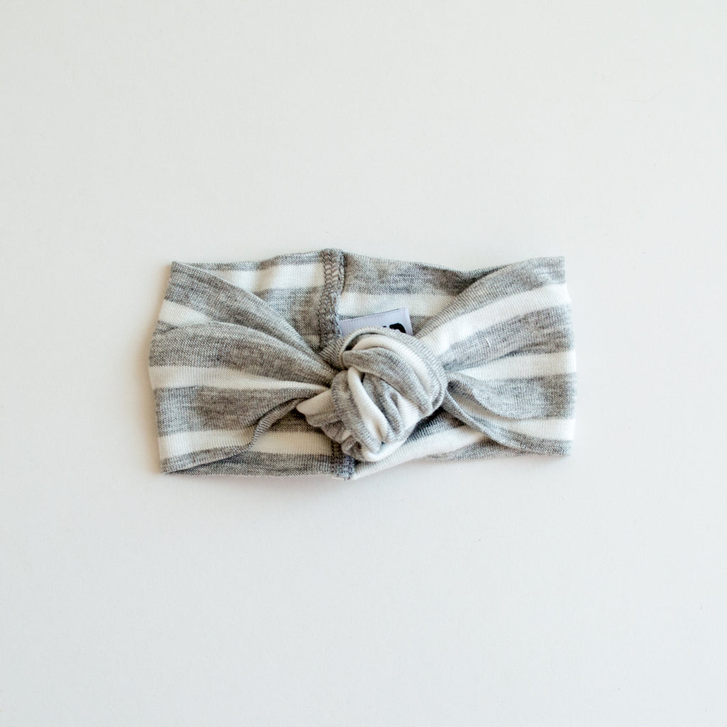 Little Nursling® Top Knot Headband | Heather Grey & Ivory Stripe
