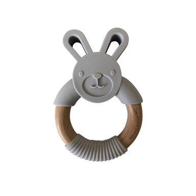 Bunny Silicone + Wood Teether - Sky Grey - LITTLEMISSDESSA