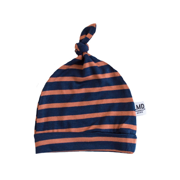 Newborn Baby Knotted Hat | Navy & Hazelnut Stripe Jersey
