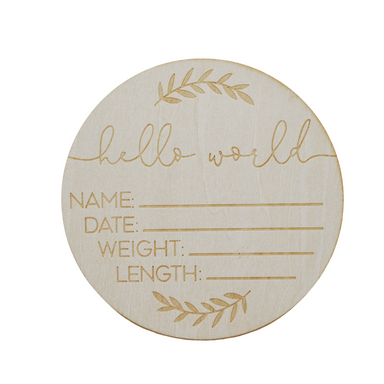Hello World Birth Announcement Milestone Disc - LITTLEMISSDESSA