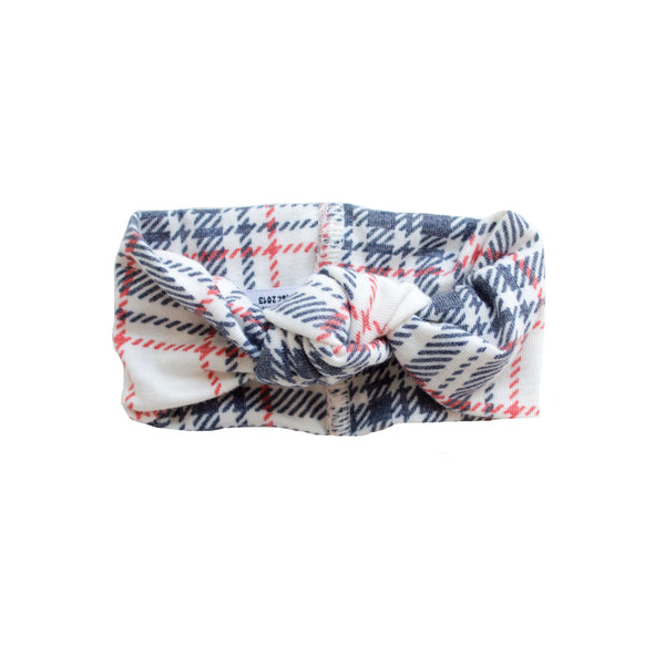 Top Knot Jersey Headband | Holiday Plaid