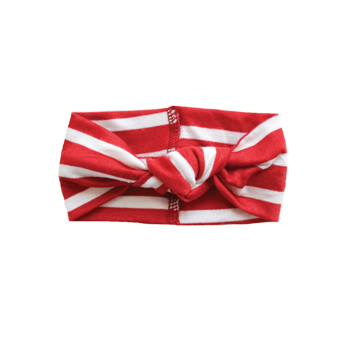 Top Knot Jersey Headband | Holiday Stripe