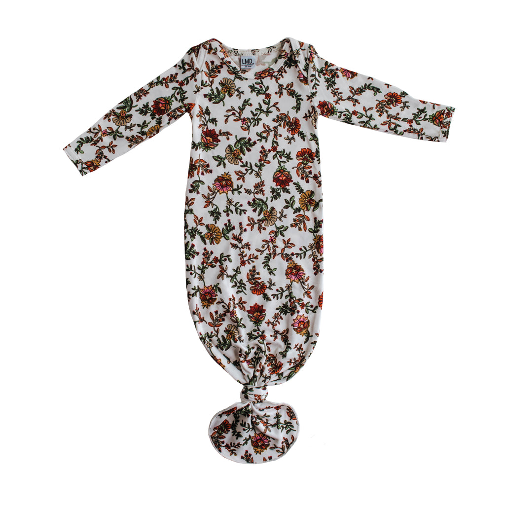 Little Nursling® Snuggle Knotted Baby Gown | Holiday Floral