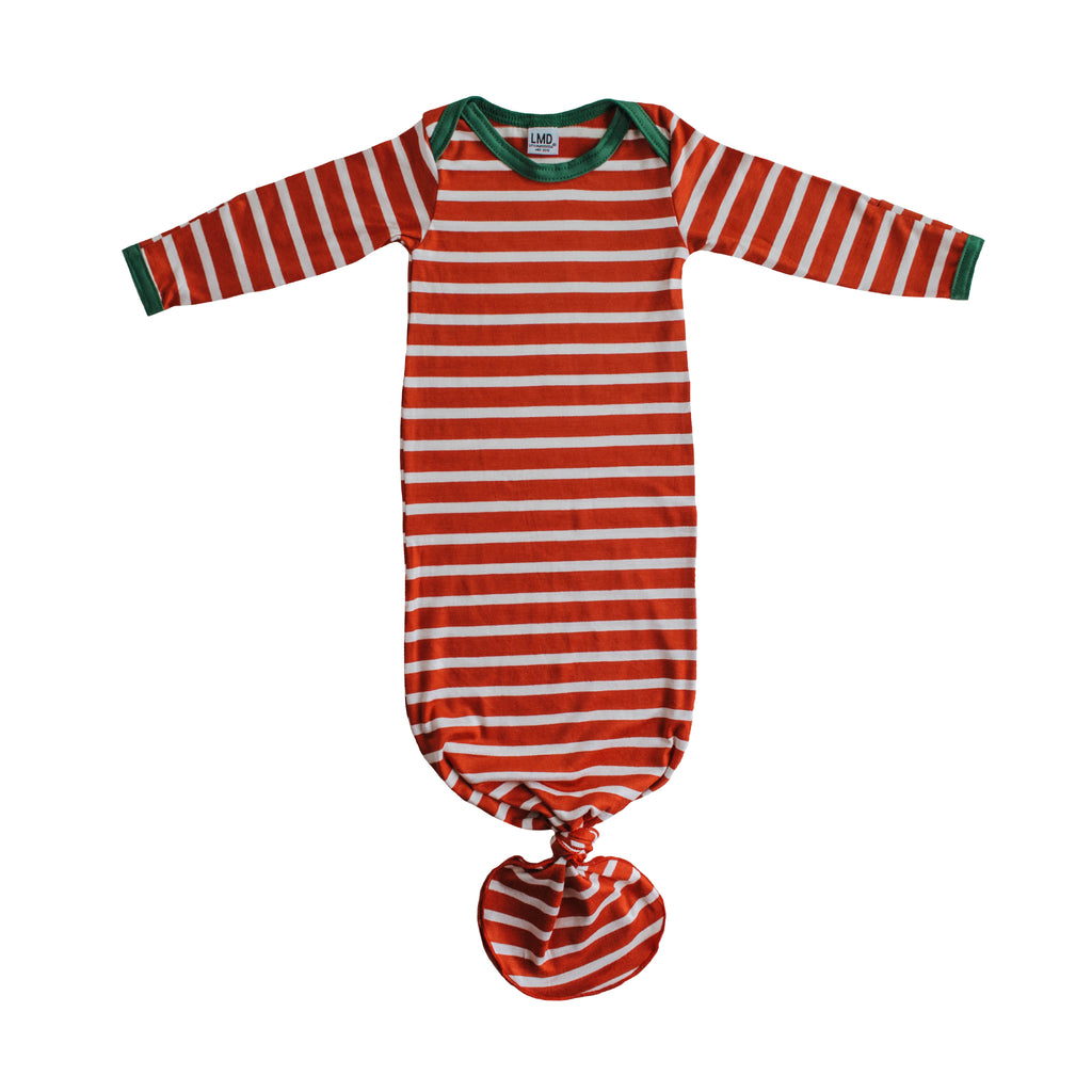 Little Nursling™ Snuggle Knotted Baby Gown | Holiday Stripe
