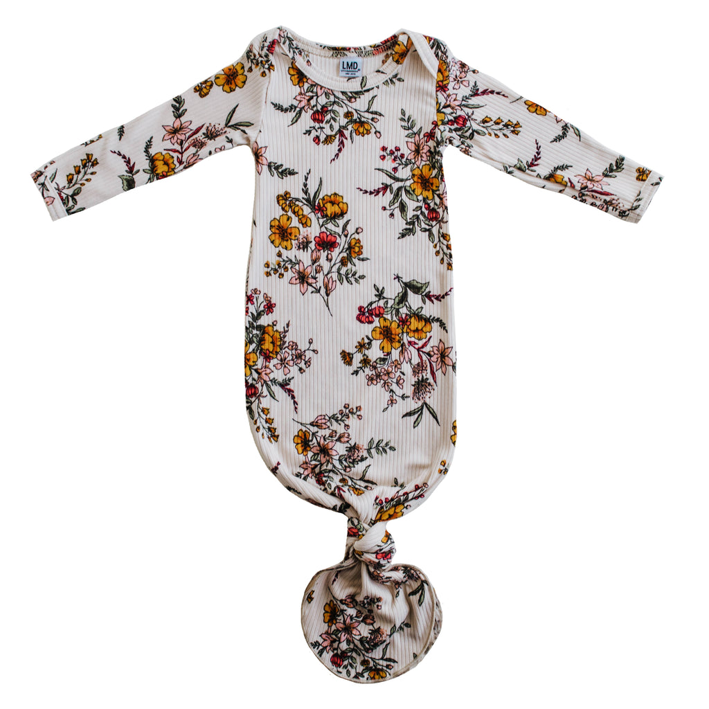 Little Nursling® Snuggle Knotted Baby Gown | Honeysuckle Floral Rib