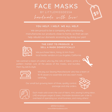 LMD Protective Face Mask | English Rose - LITTLEMISSDESSA