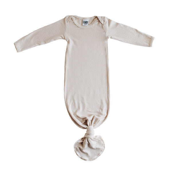 Little Nursling™ Snuggle Knotted Baby Gown | Ivory Rib