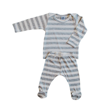 Snuggle Set | Ivory & Grey Stripe - LITTLEMISSDESSA
